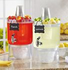 Cold Drink Beverage Dispensers Stand Pitcher Clear Ice Bucket Stackable Set of 2