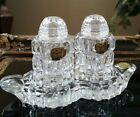 Vintage Bohemian Cut Crystal 3 piece Salt  Pepper Shakers Crystal Holder w box