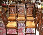 Beautiful Set Of 8 French Antique Oak Rush Seat Brittany Carved Chairs