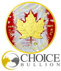 2015 Canadian Maple Patriotic Flag Anniversary 1 Oz Silver Coin 24K Gold Gilde