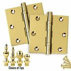 Door Hinges 35 x 35 Solid Brass Ball Bearing Polished Brass US3 Set of 2