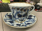 LOMONOSOV RUSSIA TEACUP AND SAUCER BLUE TULIPS GOLD TRIM MADE IN RUSSIA