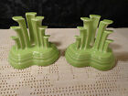 2 Fiesta Retired Chartreuse Pyramid Tripod Candle Holders Fiestaware