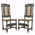 Pair Antique Oak Carved Barley Twist Cane Seat Jacobean Renaissance Side Chairs