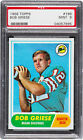 1968 TOPPS FOOTBALL #196 BOB GRIESE ROOKIE PSA 9 MINT; ONLY 1 HIGHER