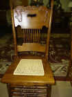 Antique Oak Pressed back chair w/ Hand canned seat #1 w/ hand hole USA