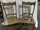 2 Matching Oak Pressed Back Side Chairs Late Victorian Pair In Need of Repair