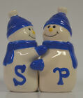 Salt and Pepper Shakers Hugging Snowmen Snowman Couple Blue and White