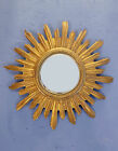 VINTAGE GOLD PAINTED CARVED WOOD MID CENTURY FRENCH SUNBURST MIRROR 1950s