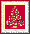 All That Glitters Red Metallic Christmas Tree Cotton Fabric Panel 36 x 44