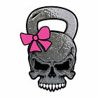 Skull Kettlebell Crossfit Lift Gym Custom Sticker Decal Pink Bow Car Truck Cup