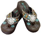 Montana West Large Rhinestone Concho Accented Wedge Flip Flops SE08 S001 CF