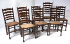 B351 Set of 8 Antique Ladder Back Oak Dining Chairs, Rush Seats, 7+1 Armchair