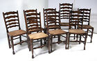 MOVING SALE!!! B351 Set of 8 Antique Ladder Back Oak Dining Chairs, 7+1 Armchair