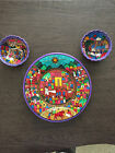 2002 JOSE VARGAS HAND PAINTED DECORATIVE PLATTER AND 2 BOWLS EXCELLENT CONDITION
