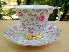 Vintage Royal Albert Bone China Footed Tea Cup and Saucer Pink Roses Gold Trim