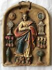 altarpiece, hand carved in alabaster, colonial Virgin Inmaculate polychrome
