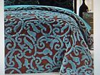 New QUEEN Size Bedspread ** Chenille Teal Blue/Brown