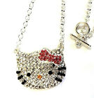 Adorable Hello Kitty Necklace Pink Bow Crystals Rhodium Plated Gift Boxed