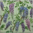 WISTERIA FLOWERS GREEN 4 single COCKTAIL SIZE paper napkins for decoupage 3 ply