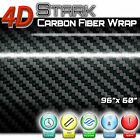 4D Black Carbon Fiber Vinyl Wrap Bubble Free Air Release Motorcycle 96