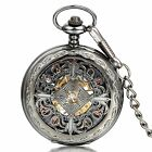 Mens Vintage Antique Hollow Chinese Knot Automatic Mechanical Pocket Watch