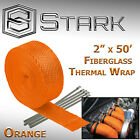 2 x 50FT Exhaust Header Fiberglass Heat Wrap Tape w 5 Steel Ties Orange H