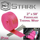 2 x 50FT Exhaust Header Fiberglass Heat Wrap Tape w 5 Steel Ties Pink H