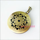 1 New Antiqued Bronze Charms Round Sun Flower Picture Locket Frame Pendants 32mm