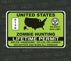 Zombie hunter permit lime green vinyl sticker printed graphic hunting outdoors
