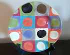Pier1 One Urban Dot Dinner Plate Multi Color Circles, Squares, Smooth Stoneware