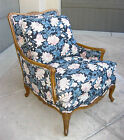 Vintage French Country Provincial Blue Floral ARM CHAIR w Goose Down Feathers