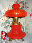 1900 RARE RED Cased Glass GWTW Parlor Banquet Lamp WREATH  TORCH Consolidated