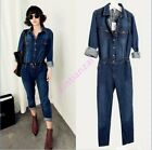 Vogue Womens jeans jumpsuit Vintage Denim Belted overalls long pants Jumpsuit