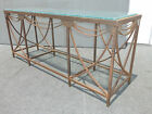 Vintage DESIGNER Wrought Iron Industrial Entry Console Table w Etched Glass Top