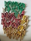 Lot of 131 Vintage Wood Golf Tees (green, white, red, yellow, tan)