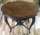 Vintage French Louis XV Style Carved Inlaid Wood Lamp Sofa Table