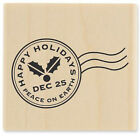 New Stampabilities HAPPY HOLIDAYS POST MARK Mail Wood Rubber Stamp Christmas