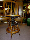 antique oak chair stool industrial office bar room swivel cane seat refinished