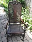 ANTIQUE MAHOGANY PARLOR CHAIR WITH CANED SEAT AND BACK