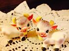 Vintage Happy Cows Anthropomorphic W Bow Salt And Pepper Shakers Japan Figurines