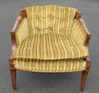 VINTAGE MID CENTURY MODERN ACCENT ARM CHAIR ~Yellow/Brown Tufted Striped Velvet