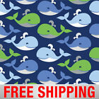 Fleece Fabric Whale Blue Whale Wide Style 4791 Free Shipping