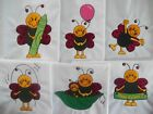 ADORABLE LADYBUGS EMBROIDERED QUILT BLOCKS SET OF SIX SQUARES