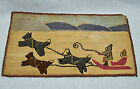 Early Grenfell Hooked Rug Classic Dogsled Scene 11