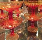 4 VTG Amberina Pedestal Candy/Nut Compote Dishes Red/Yellow Diamond Windsor