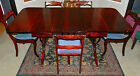Gorgeous 3 Pedestal, Two Leaf, Drop Leaf, Duncan Phyfe Dining Table W/5 Chairs!!