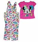 Disney Minnie Mouse Baby Girl T Shirt  Comic Print Overalls Outfit Pink Blue