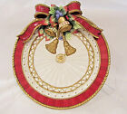 Fitz & Floyd Christmas Deer Red Bow Holly Bells Tassles Canape Plate or Plaque