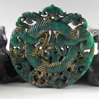 Chinese hand carved dragon design old jade pendant 5034
